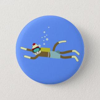 Sock Monkey Scuba Diver 6 Cm Round Badge