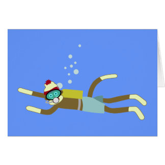 Sock Monkey Scuba Diver Card