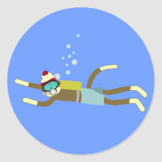 Sock Monkey Scuba Diver Classic Round Sticker