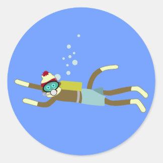 Sock Monkey Scuba Diver Round Sticker