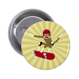 Sock Monkey Skateboarder 6 Cm Round Badge