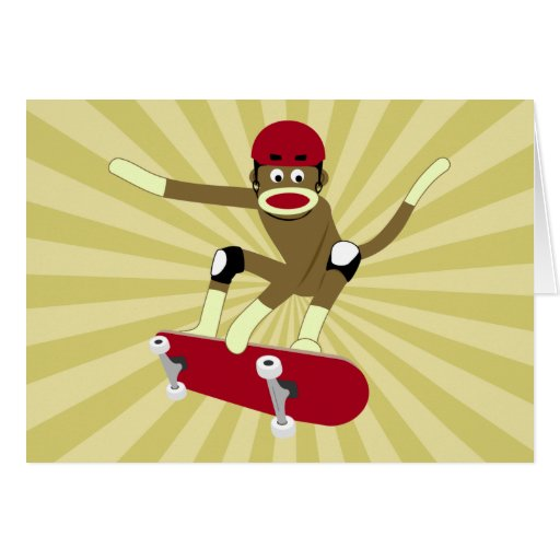 Sock Monkey Skateboarder Greeting Card