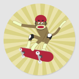 Sock Monkey Skateboarder Classic Round Sticker