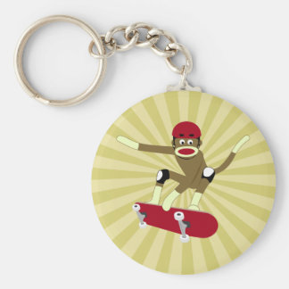 Sock Monkey Skateboarder Key Ring