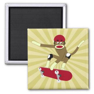 Sock Monkey Skateboarder Square Magnet