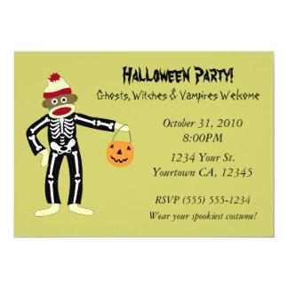 Sock Monkey Skeleton Halloween 13 Cm X 18 Cm Invitation Card