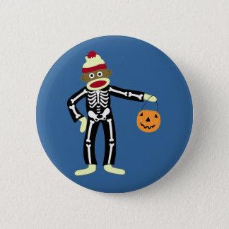 Sock Monkey Skeleton Halloween 6 Cm Round Badge