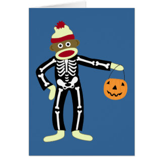 Sock Monkey Skeleton Halloween Card