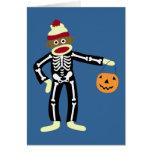 Sock Monkey Skeleton Halloween Greeting Card