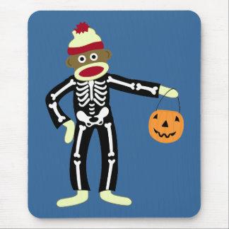 Sock Monkey Skeleton Halloween Mouse Mat