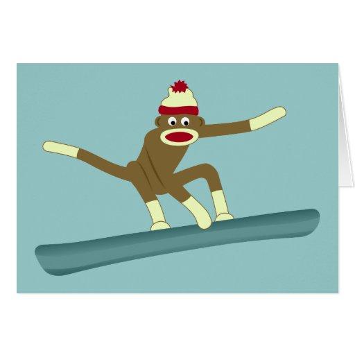 Sock Monkey Snowboarder Greeting Cards