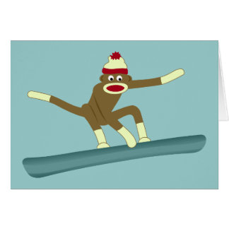 Sock Monkey Snowboarder Greeting Card
