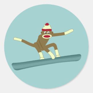 Sock Monkey Snowboarder Round Sticker