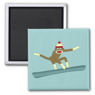 Sock Monkey Snowboarder Square Magnet
