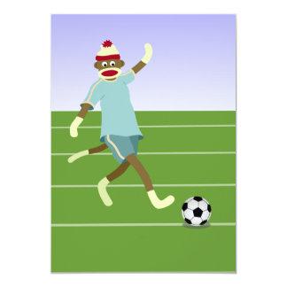 Sock Monkey Soccer Player 13 Cm X 18 Cm Invitation Card