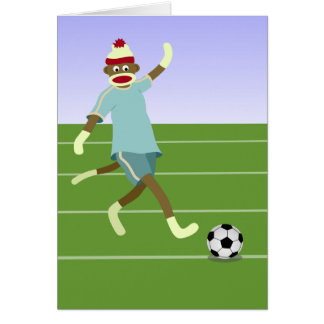 Sock Monkey Soccer Player Greeting Cards