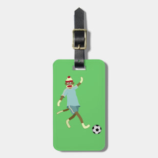 Sock Monkey Soccer Player Luggage Tag