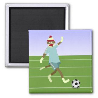Sock Monkey Soccer Player Square Magnet