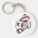 Sock Monkey Soccer T shirts and Gifts Basic Round Button Key Ring