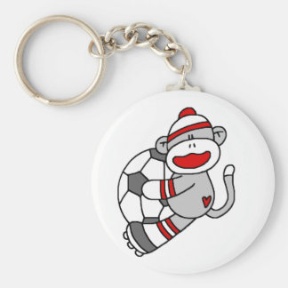 Sock Monkey Soccer T shirts and Gifts Key Ring