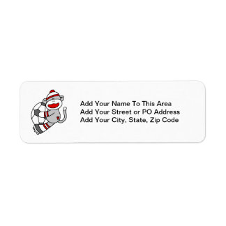 Sock Monkey Soccer T shirts and Gifts Return Address Label