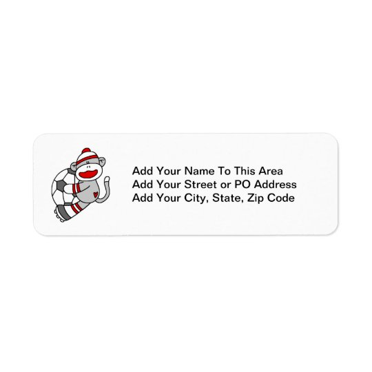 Sock Monkey Soccer T shirts and Gifts Return Address Label