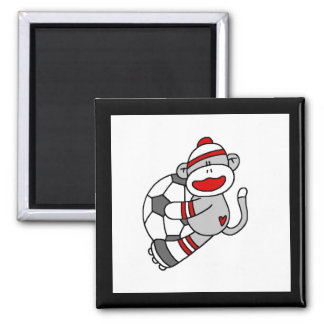 Sock Monkey Soccer Tshirts and Gifts Square Magnet