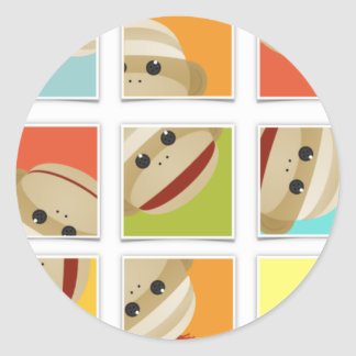 Sock Monkey Socks Blocks by Kelly Schwark Classic Round Sticker
