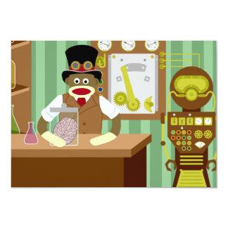 Sock Monkey Steampunk Scientist 13 Cm X 18 Cm Invitation Card
