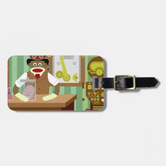 Sock Monkey Steampunk Scientist Luggage Tag
