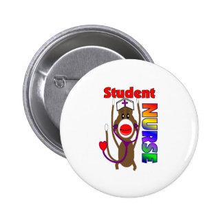 Sock Monkey Student Nurse 6 Cm Round Badge