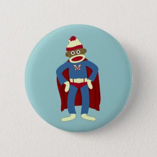 Sock Monkey Superhero 6 Cm Round Badge