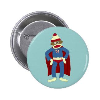Sock Monkey Superhero 6 Cm Round Badge