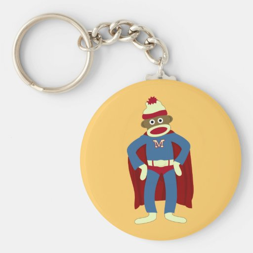 Sock Monkey Superhero Basic Round Button Key Ring