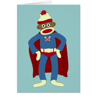 Sock Monkey Superhero Card