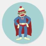 Sock Monkey Superhero Classic Round Sticker