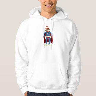 Sock Monkey Superhero Hooded Pullover