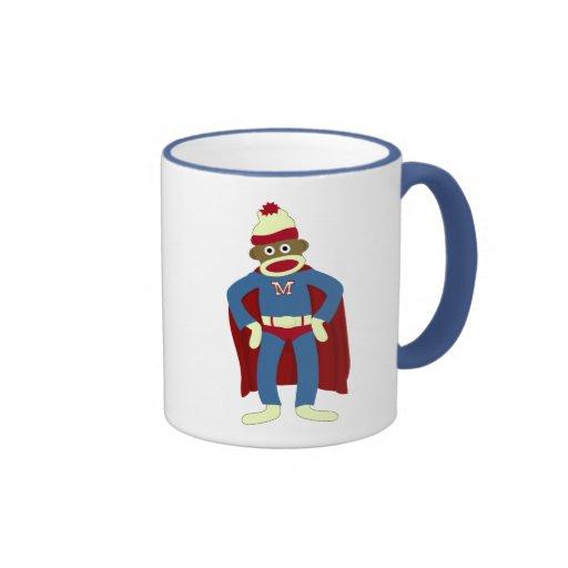 Sock Monkey Superhero Ringer Coffee Mug