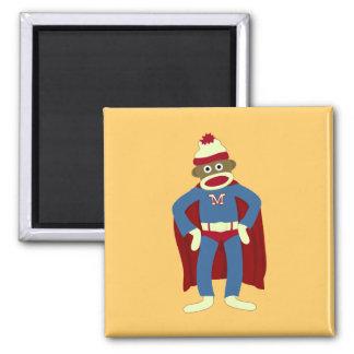 Sock Monkey Superhero Square Magnet