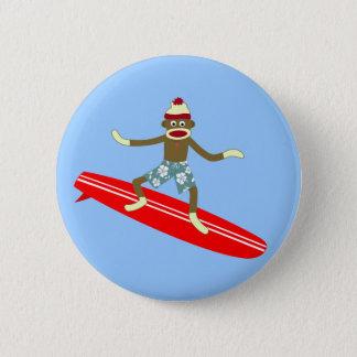 Sock Monkey Surfer 6 Cm Round Badge