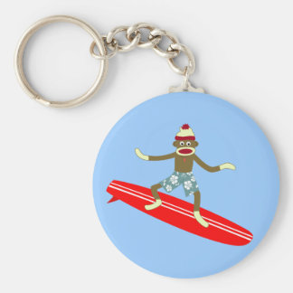 Sock Monkey Surfer Basic Round Button Key Ring