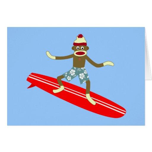 Sock Monkey Surfer Card