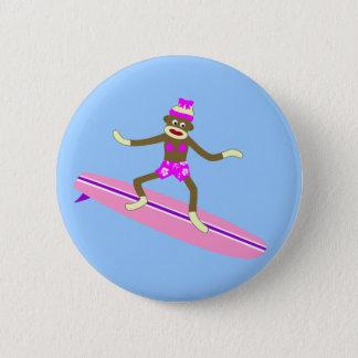 Sock Monkey Surfer Girl 6 Cm Round Badge
