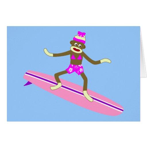 Sock Monkey Surfer Girl Greeting Cards