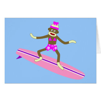 Sock Monkey Surfer Girl Greeting Card