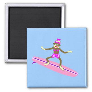 Sock Monkey Surfer Girl Magnet
