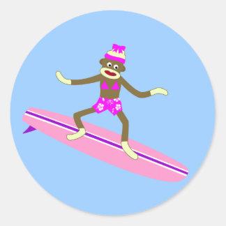 Sock Monkey Surfer Girl Round Sticker