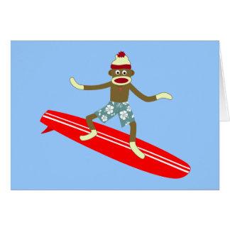 Sock Monkey Surfer Greeting Card