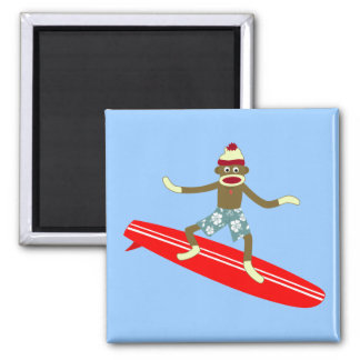 Sock Monkey Surfer Magnet