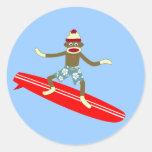 Sock Monkey Surfer Stickers
